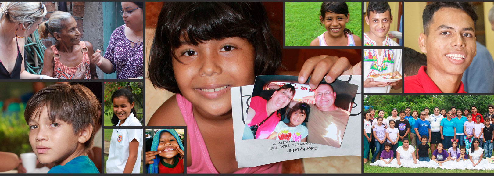 Montage of happy Nicaraguan kids and photos of staff and support families